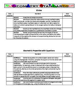 Geometry Standards Checklist