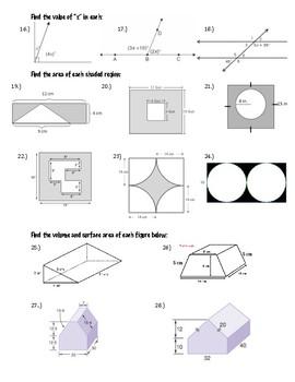 Geometry Study Guide 7th grade math