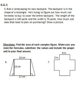 Geometry Study Guide and Assessment {6.G.1, 6.G.2, 6.G.3, and 6.G.4}