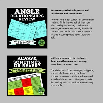 Geometry Sub Plans Bundle