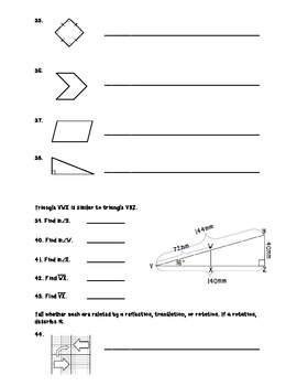 Geometry Summative Assessment and Study Guide