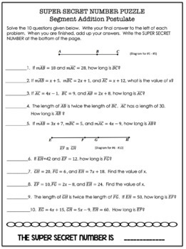 Geometry Super Secret Number Puzzle Addition/Subtraction of Segments and Angles