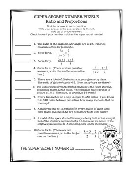 Geometry Super Secret Number Puzzle Ratio and Proportion