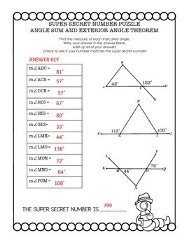 geometry super secret number puzzle triangle sum and exterior angle theorem