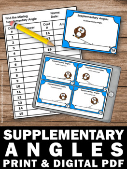 Supplementary Angles Task Cards, 7th Grade Math Review, Geometry Games