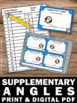Supplementary Angles 7th Grade Common Core Math Task Cards