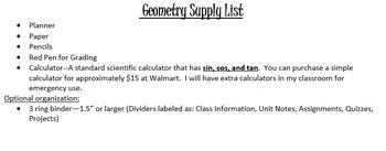 Geometry Supplies List