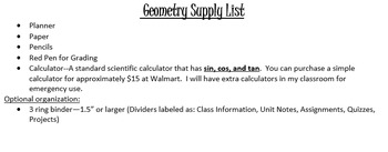 Geometry Supplies List