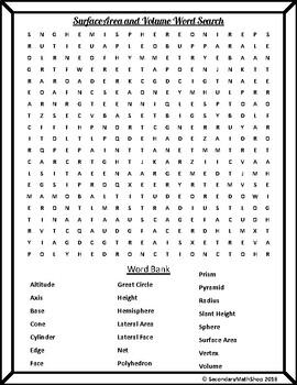 Surface Area & Volume - Unit 11: 3-D Figures Vocabulary ...