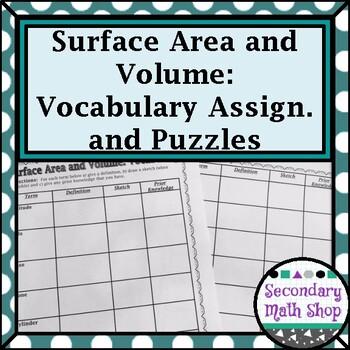 Surface Area & Volume - Unit 11: 3-D Figures Vocabulary As