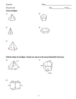 Geometry - Surface Area and Volume - Homework Pack