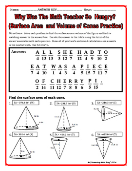 surface area and volume cones riddle worksheet by secondary math shop. Black Bedroom Furniture Sets. Home Design Ideas