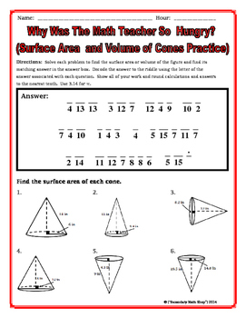 Surface Area and Volume - Cones Riddle Worksheet