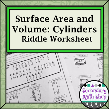 surface area and volume cylinders riddle worksheet by secondary math shop. Black Bedroom Furniture Sets. Home Design Ideas