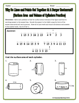 surface area and volume cylinders riddle worksheet - Volume Of A Cylinder Worksheet