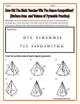 Surface Area and Volume - Pyramids Riddle Worksheet