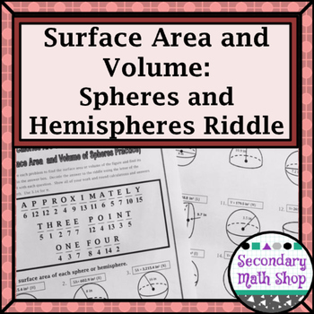 Surface Area And Volume Spheres And Hemispheres Riddle Worksheet