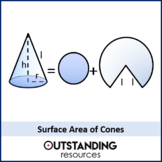 Geometry: Surface Area 3 - Surface Area of Cones (+ resources)