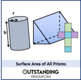 Geometry: Surface Area 1 - Surface Area of Prisms (+ worksheet)