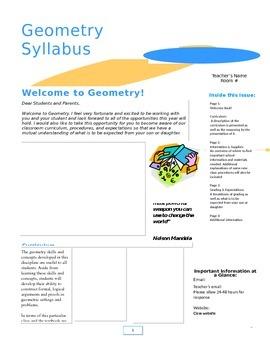 Geometry Syllabus Newsletter