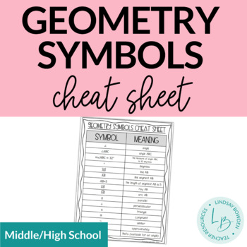 Geometry Symbols Cheat Sheet By Geometry Gal Teachers Pay Teachers