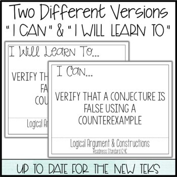 "Geometry TEKS  - ""I Can"" Statements / ""I Will Learn To"" Posters"