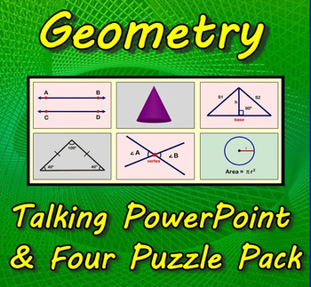 Geometry Talking PowerPoint & Four Puzzle Pack