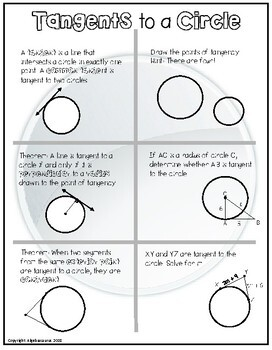 Geometry: Tangents to a Circle Doodle Notes or Graphic Organizer