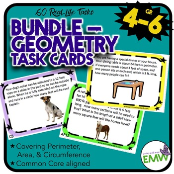 Geometry Task Card Bundle: 76 Real Life on Circumference, Area, and Perimeter