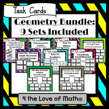 Geometry Task Card Bundle: 9 Sets Included!