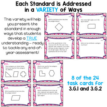 Geometry Task Cards Bundle for Third Grade Math Common Core - 3.G.1 - 3.G.2