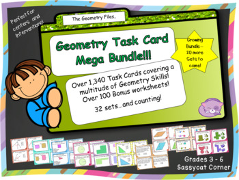 Geometry Task Card Mega Bundle - for centers, workstations
