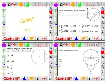 Geometry Task Card Review - Circles and Geometric Properties with Equations