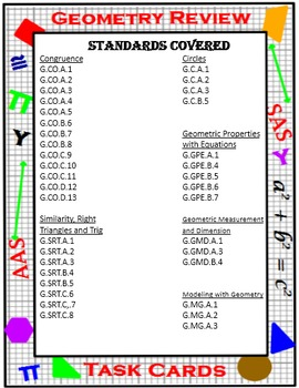 Geometry Task Card Review - Congruence