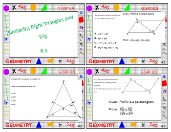 Geometry Task Card Review - Similarity, Right Triangles and Trig