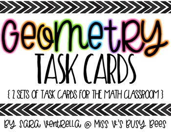 Geometry Task Cards {2 Sets with QR Codes}