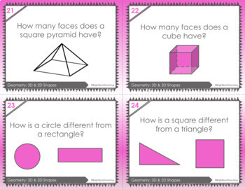 Geometry Task Cards- 2D and 3D shapes