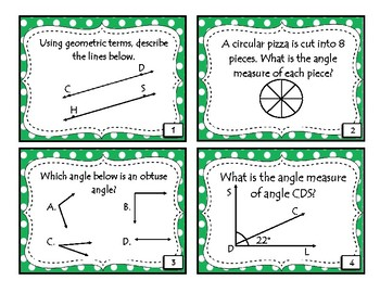 Classifying Triangles and Quadrilaterals and Measuring Angles Task Cards
