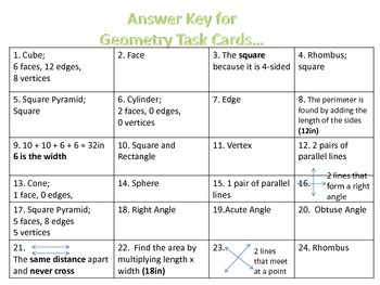 Geometry Task Cards {Angles, Lines, 2D, and 3D Shapes}3rd-4thGrade