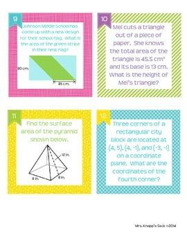 Geometry Task Cards ~ CCLS 6.G.1 - 6.G.4