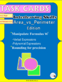 Geometry Task Cards: Find Area and Perimeter of Figures~Co