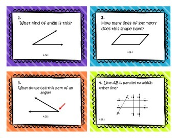 Geometry Task Cards - Fourth Grade Common Core Math Review