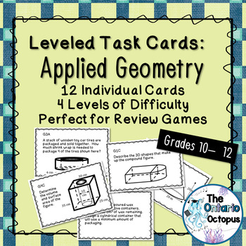 Geometry Task Cards - Leveled - Suitable for Review Games