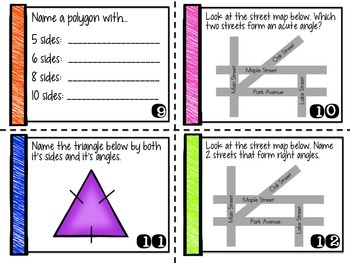 Geometry Task Cards: Lines, Angles, Triangles, Transformations and more!