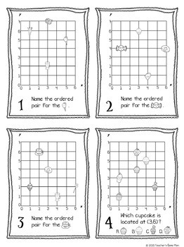 Geometry Task Cards - Ordered Pairs & 10 Activities