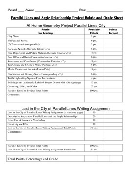 Geometry Task (Project): Parallel Lines City Project and Writing Assignment