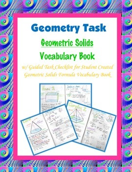 Geometry Task (Project): 3-Dimensional Solids Formula Vocabulary Book