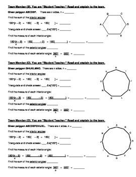 Geometry {Team Task} ~ Polygon Measures and Polygon Angle-sum