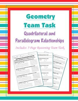 Geometry {Team Task} ~ Quadrilaterals and Parallelograms