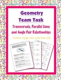 Geometry {Team Task} ~ Transversals, Parallel Lines and Angle Pair Relationships
